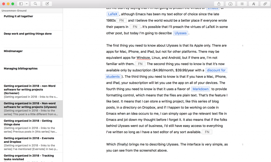 Screenshot of Ulysses on my MacBook